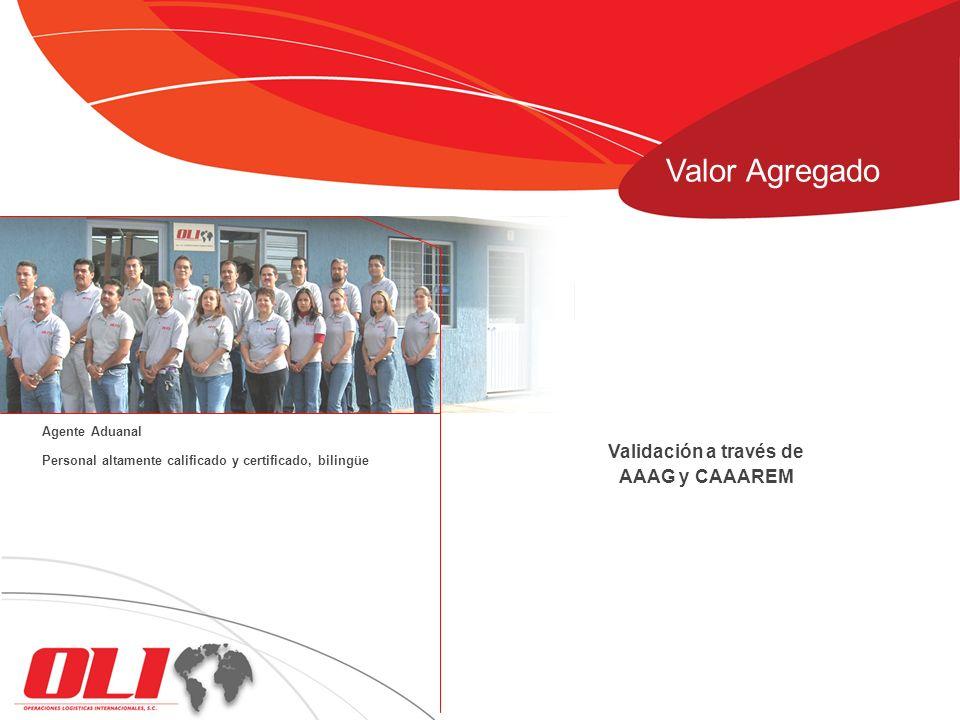 Valor Agregado Validación a través de AAAG y CAAAREM Agente Aduanal