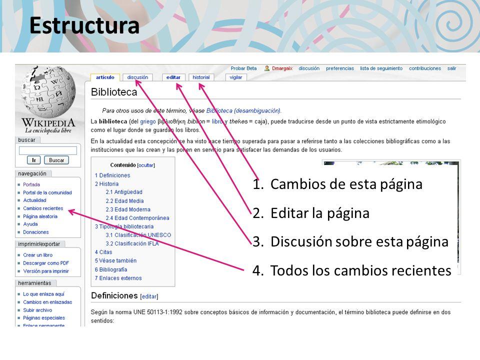Estructura Cambios de esta página Editar la página
