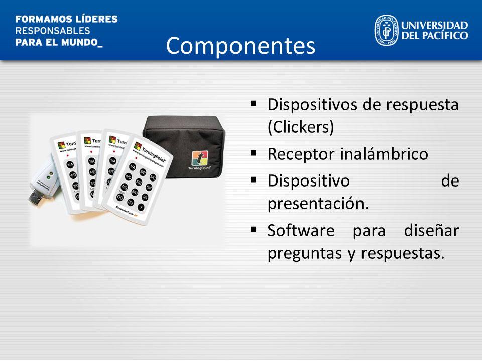 Componentes Dispositivos de respuesta (Clickers) Receptor inalámbrico