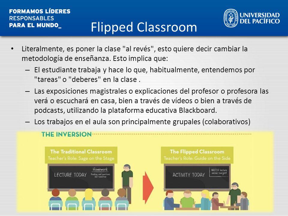 Flipped Classroom Literalmente, es poner la clase al revés , esto quiere decir cambiar la metodología de enseñanza. Esto implica que: