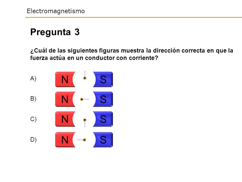 Pregunta 3. ¿Cuál de las siguientes figuras muestra la dirección correcta en que la fuerza actúa en un conductor con corriente