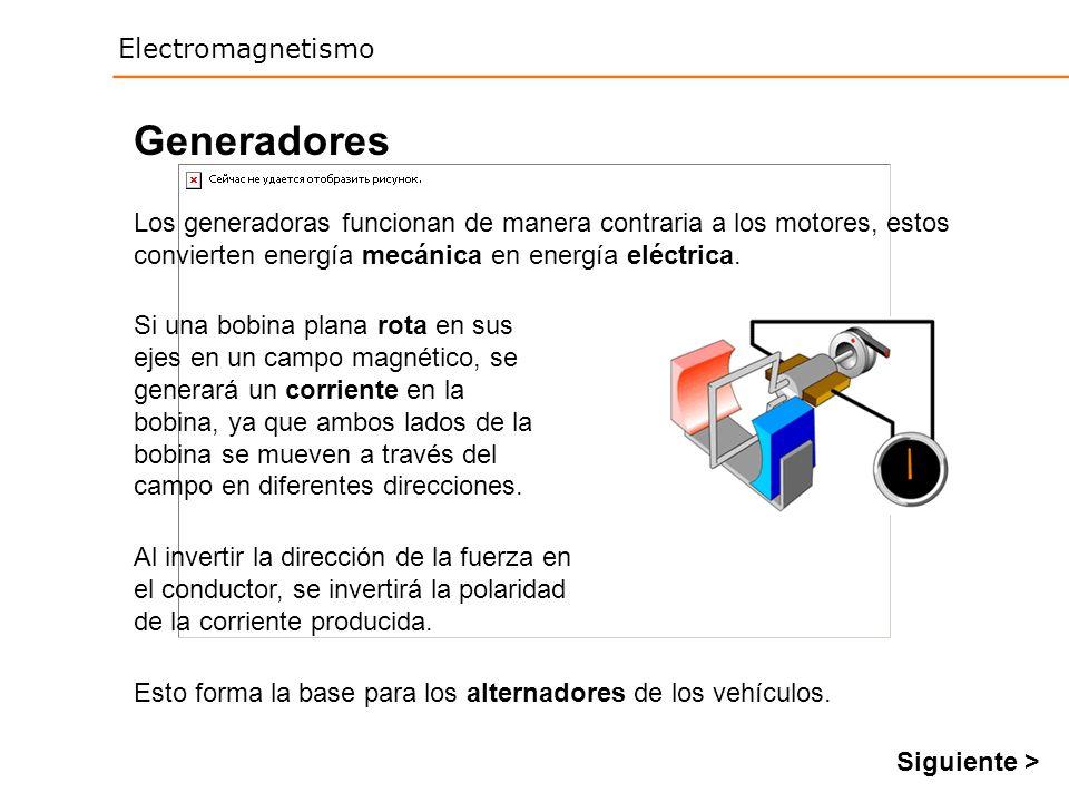 Generadores Los generadoras funcionan de manera contraria a los motores, estos convierten energía mecánica en energía eléctrica.