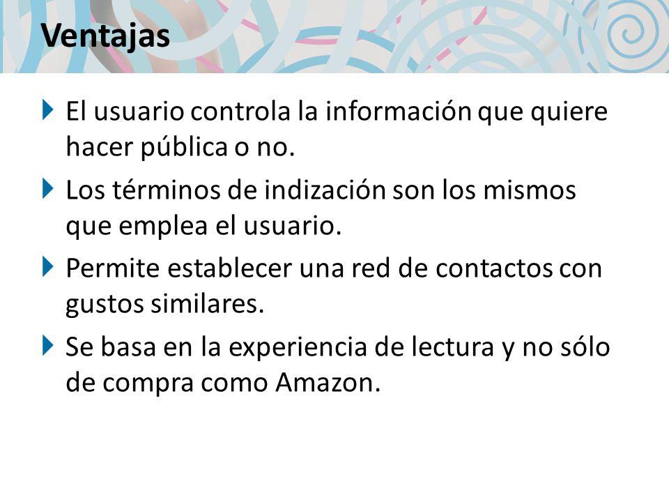 Ventajas El usuario controla la información que quiere hacer pública o no. Los términos de indización son los mismos que emplea el usuario.