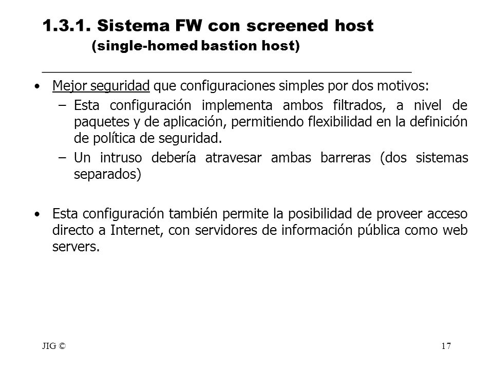1. 3. 1. Sistema FW con screened host