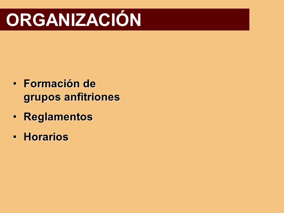 ORGANIZACIÓN Formación de grupos anfitriones Reglamentos Horarios