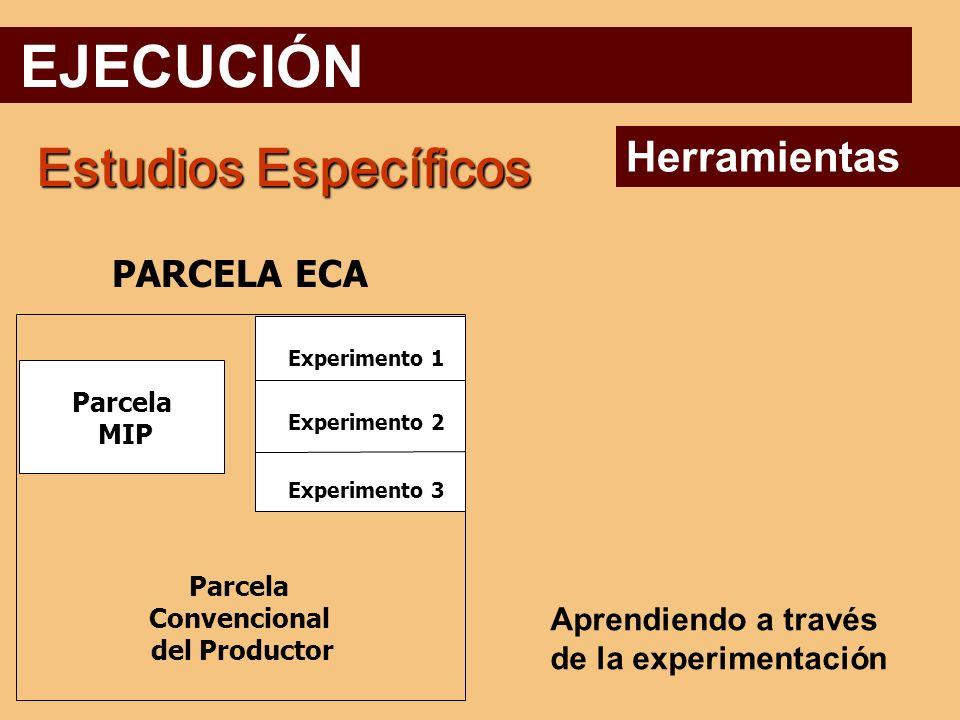 EJECUCIÓN Estudios Específicos Herramientas PARCELA ECA