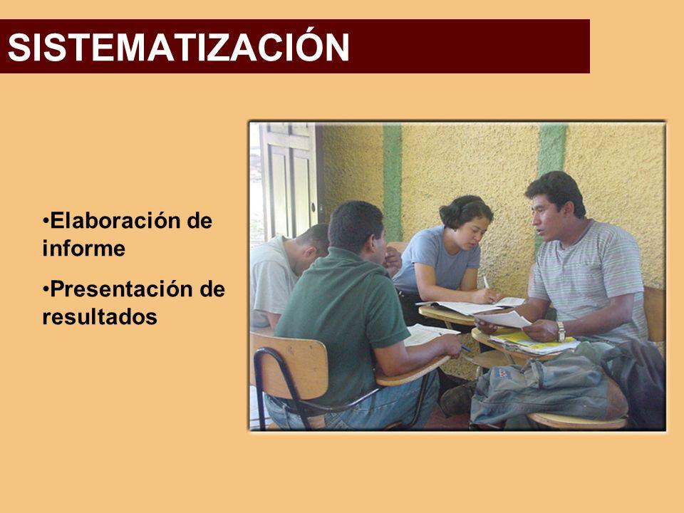 SISTEMATIZACIÓN Elaboración de informe Presentación de resultados