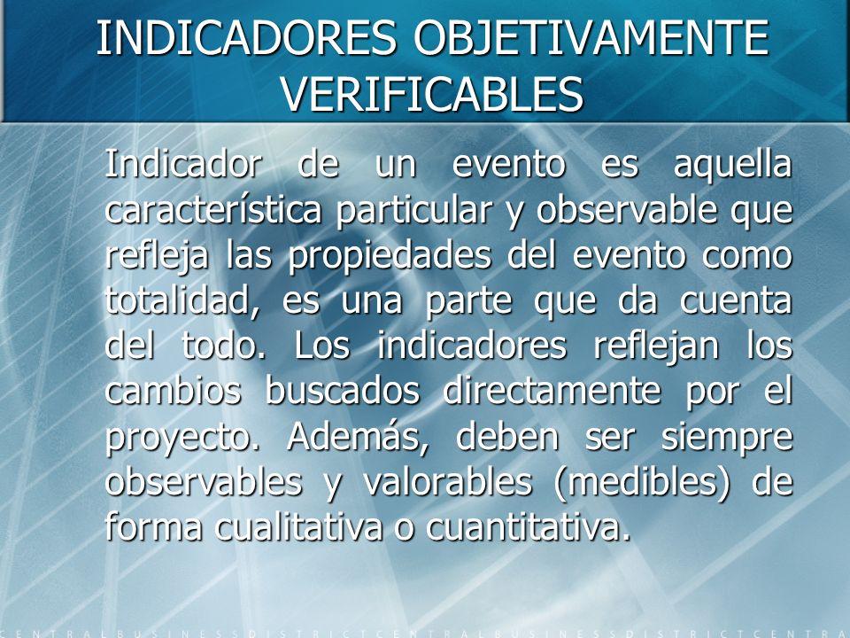 INDICADORES OBJETIVAMENTE VERIFICABLES