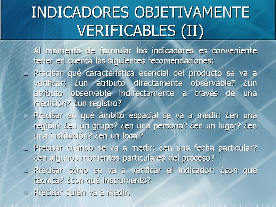 INDICADORES OBJETIVAMENTE VERIFICABLES (II)