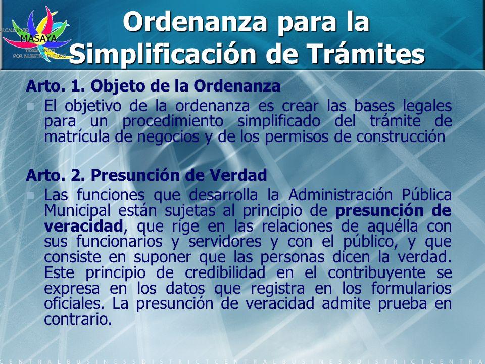 Ordenanza para la Simplificación de Trámites