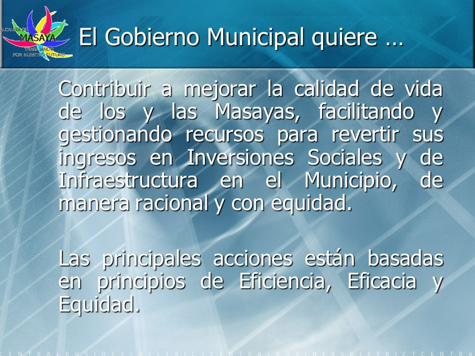 El Gobierno Municipal quiere …