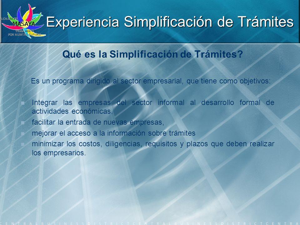 Experiencia Simplificación de Trámites