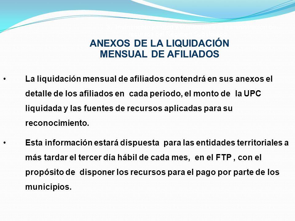 ANEXOS DE LA LIQUIDACIÓN