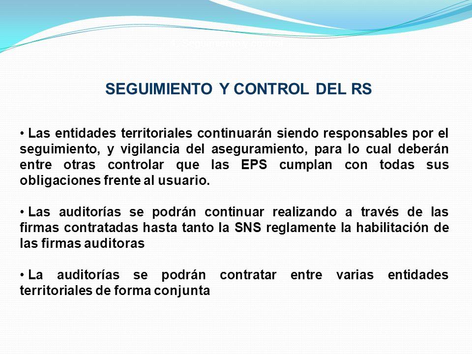 SEGUIMIENTO Y CONTROL DEL RS