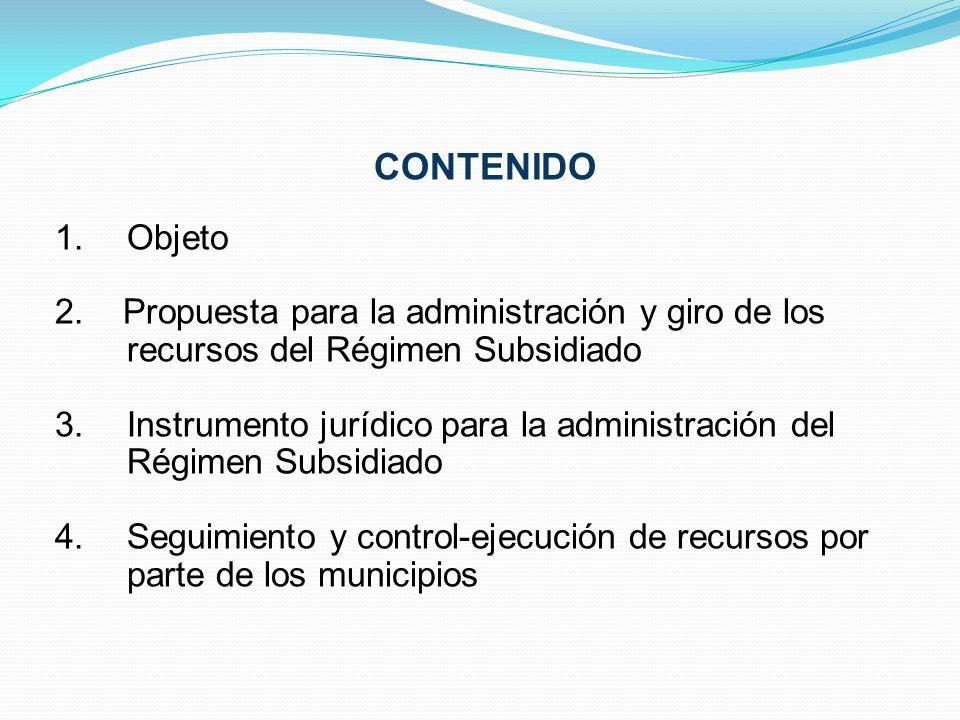 CONTENIDO Objeto. 2. Propuesta para la administración y giro de los recursos del Régimen Subsidiado.