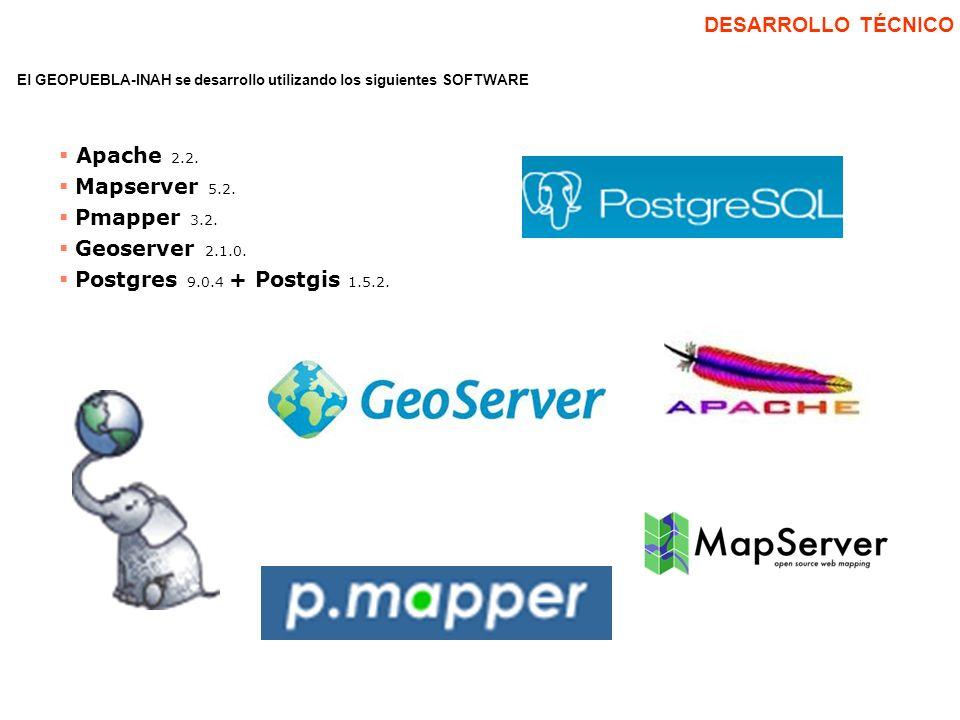 DESARROLLO TÉCNICO Apache 2.2. Mapserver 5.2. Pmapper 3.2.
