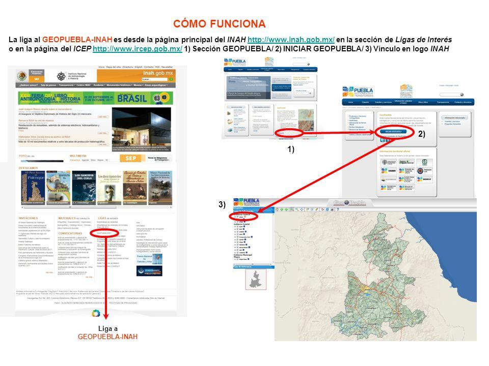 CÓMO FUNCIONA La liga al GEOPUEBLA-INAH es desde la página principal del INAH http://www.inah.gob.mx/ en la sección de Ligas de Interés.