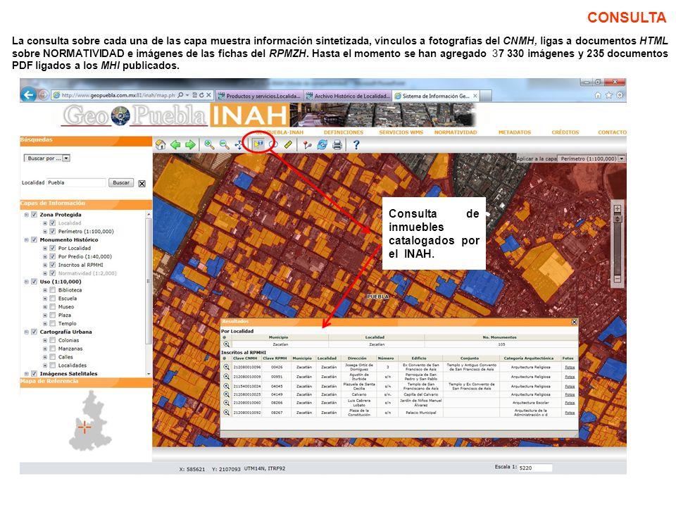 CONSULTA Consulta de inmuebles catalogados por el INAH.