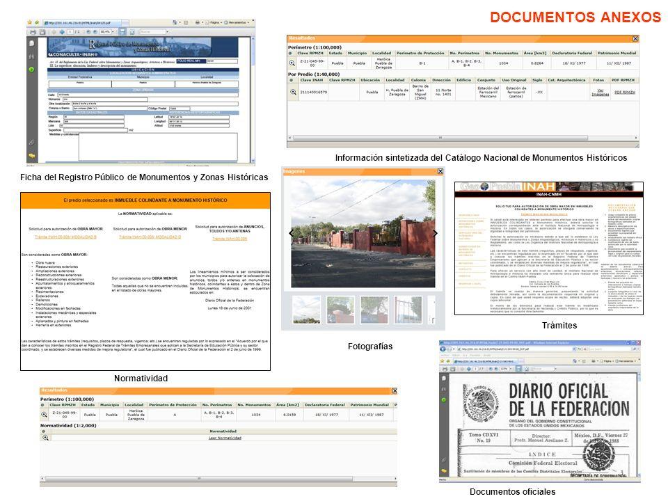 DOCUMENTOS ANEXOS Información sintetizada del Catálogo Nacional de Monumentos Históricos.