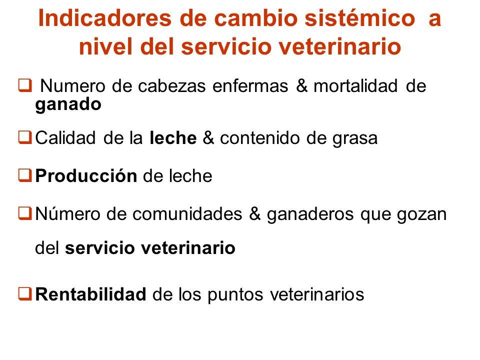 Indicadores de cambio sistémico a nivel del servicio veterinario
