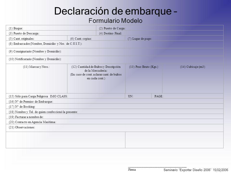 Declaración de embarque – Formulario Modelo