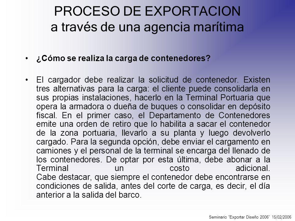 PROCESO DE EXPORTACION a través de una agencia marítima