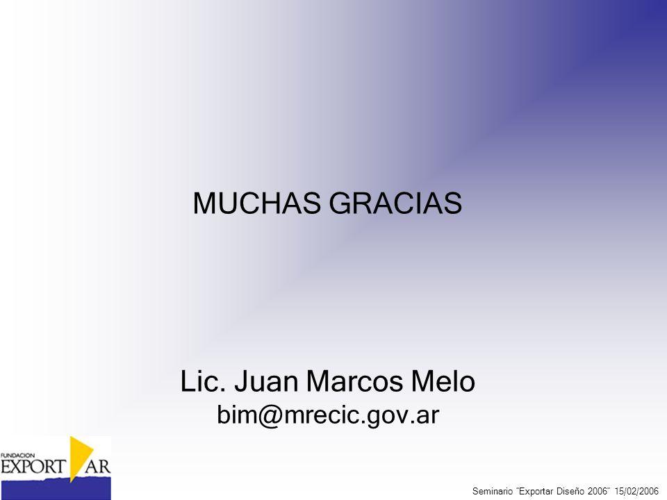 MUCHAS GRACIAS Lic. Juan Marcos Melo bim@mrecic.gov.ar