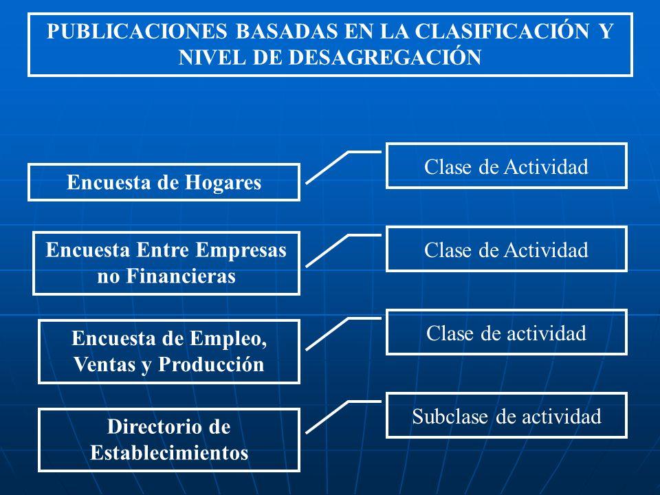PUBLICACIONES BASADAS EN LA CLASIFICACIÓN Y NIVEL DE DESAGREGACIÓN