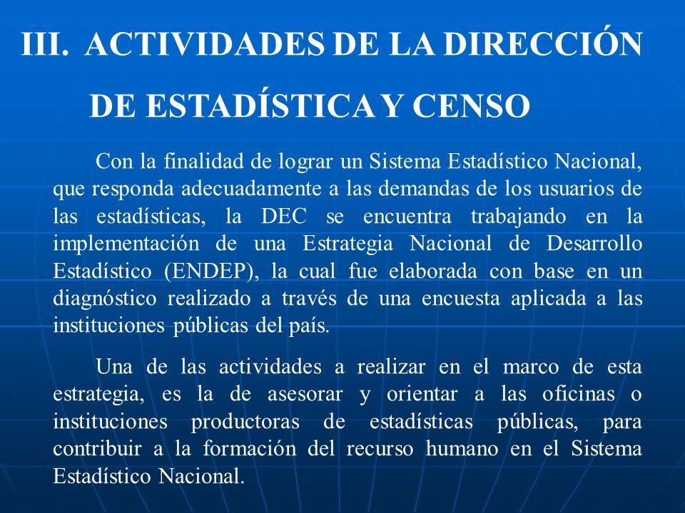 III. ACTIVIDADES DE LA DIRECCIÓN DE ESTADÍSTICA Y CENSO
