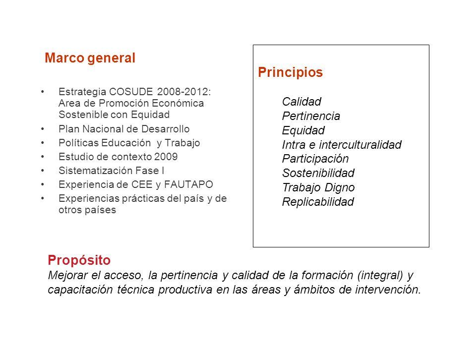 Marco general Principios Propósito Calidad Pertinencia Equidad