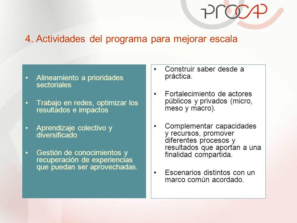 4. Actividades del programa para mejorar escala