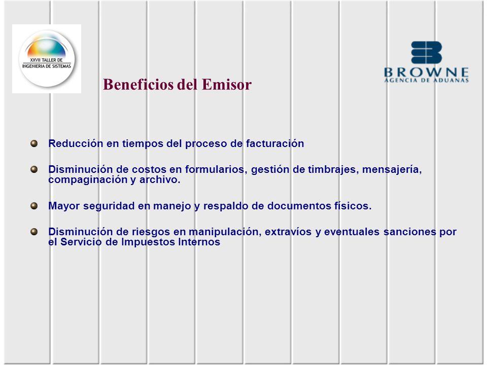 Beneficios del Emisor Reducción en tiempos del proceso de facturación