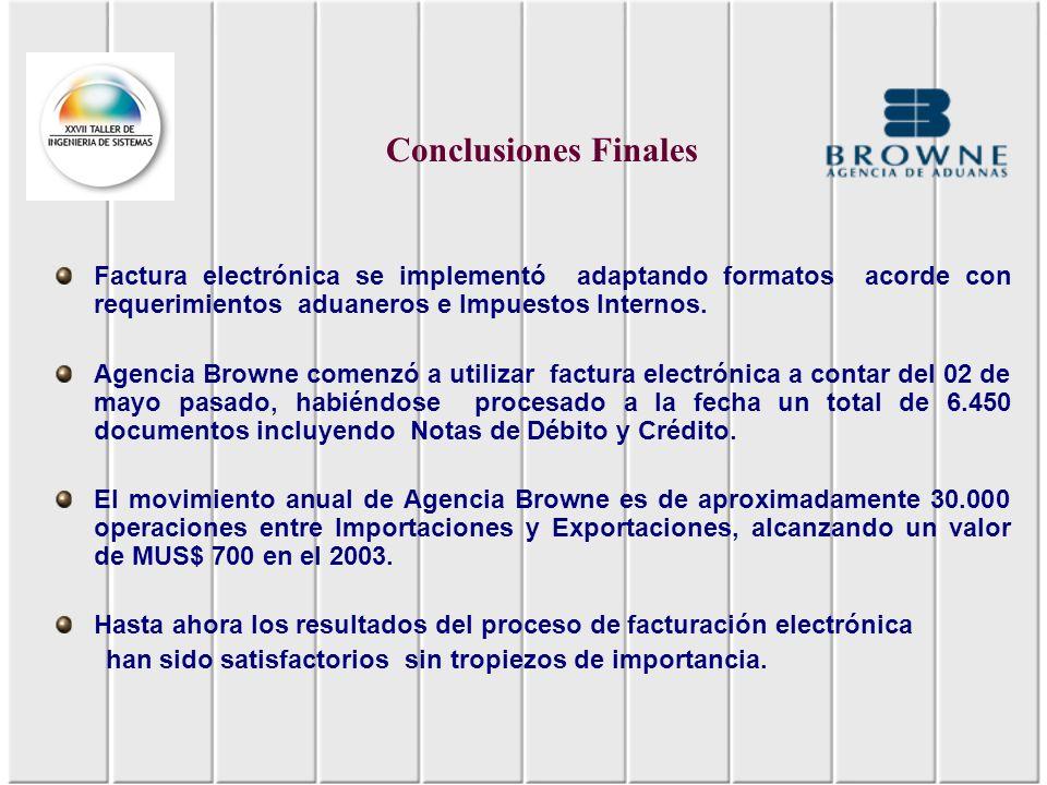Conclusiones Finales Factura electrónica se implementó adaptando formatos acorde con requerimientos aduaneros e Impuestos Internos.