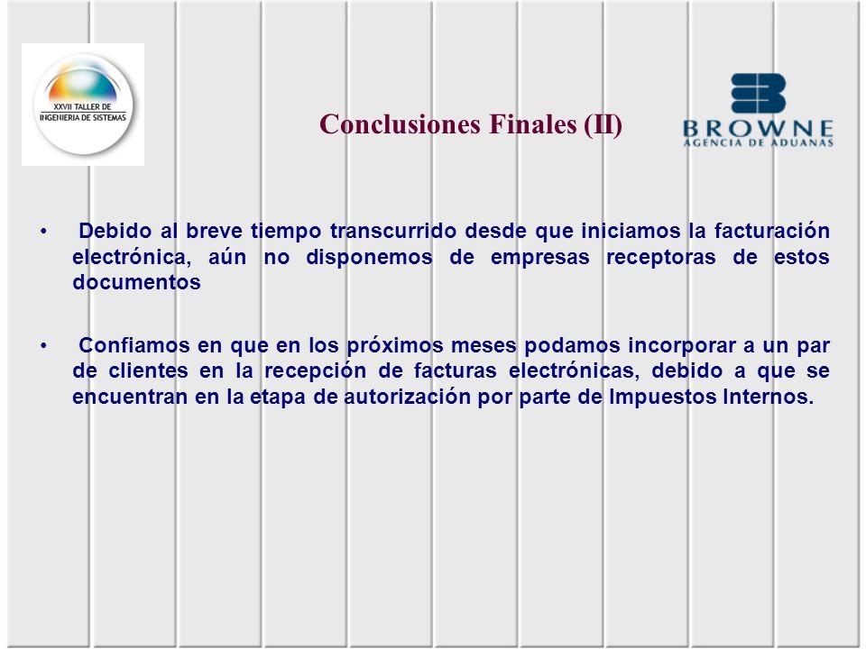 Conclusiones Finales (II)