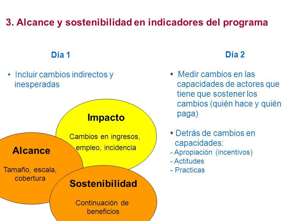 3. Alcance y sostenibilidad en indicadores del programa