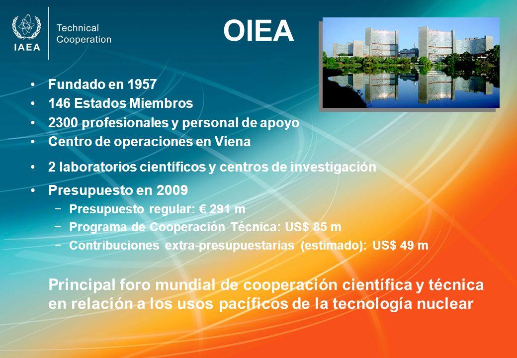 OIEA Fundado en 1957. 146 Estados Miembros. 2300 profesionales y personal de apoyo. Centro de operaciones en Viena.