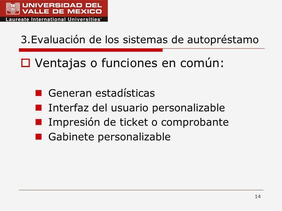 3.Evaluación de los sistemas de autopréstamo