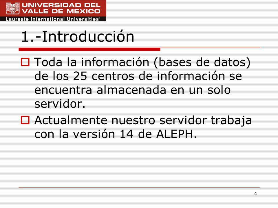 1.-Introducción Toda la información (bases de datos) de los 25 centros de información se encuentra almacenada en un solo servidor.