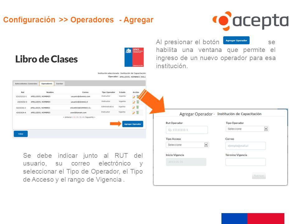 Visualización Configuración >> Operadores - Agregar