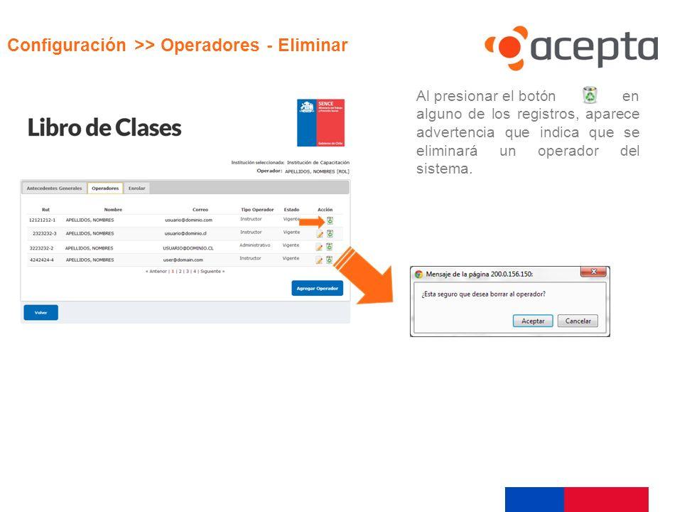Visualización Configuración >> Operadores - Eliminar