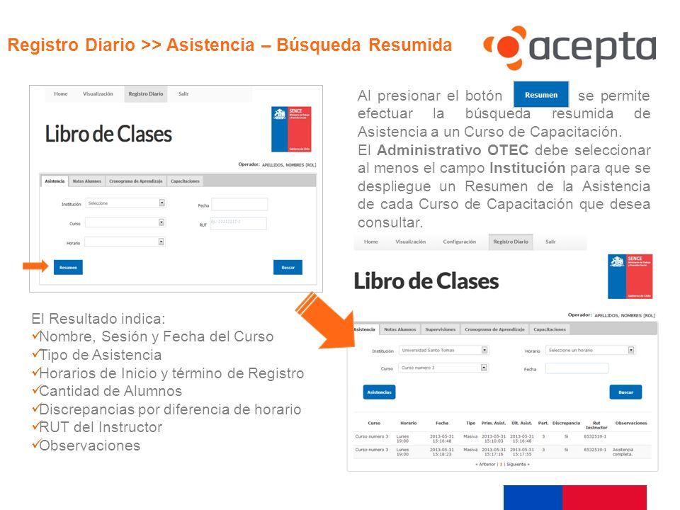 Visualización Registro Diario >> Asistencia – Búsqueda Resumida