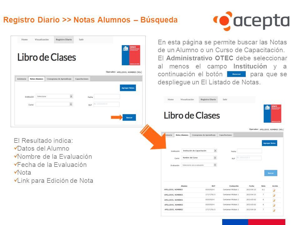 Visualización Registro Diario >> Notas Alumnos – Búsqueda