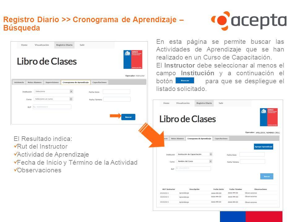 Visualización Registro Diario >> Cronograma de Aprendizaje – Búsqueda.
