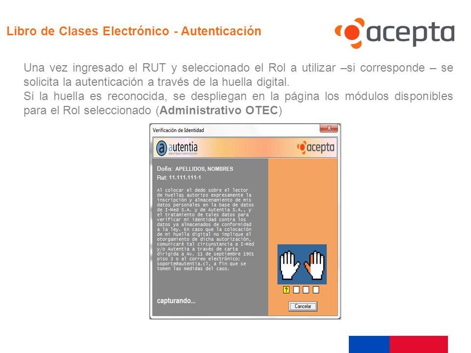Ejecución Libro de Clases Electrónico - Autenticación