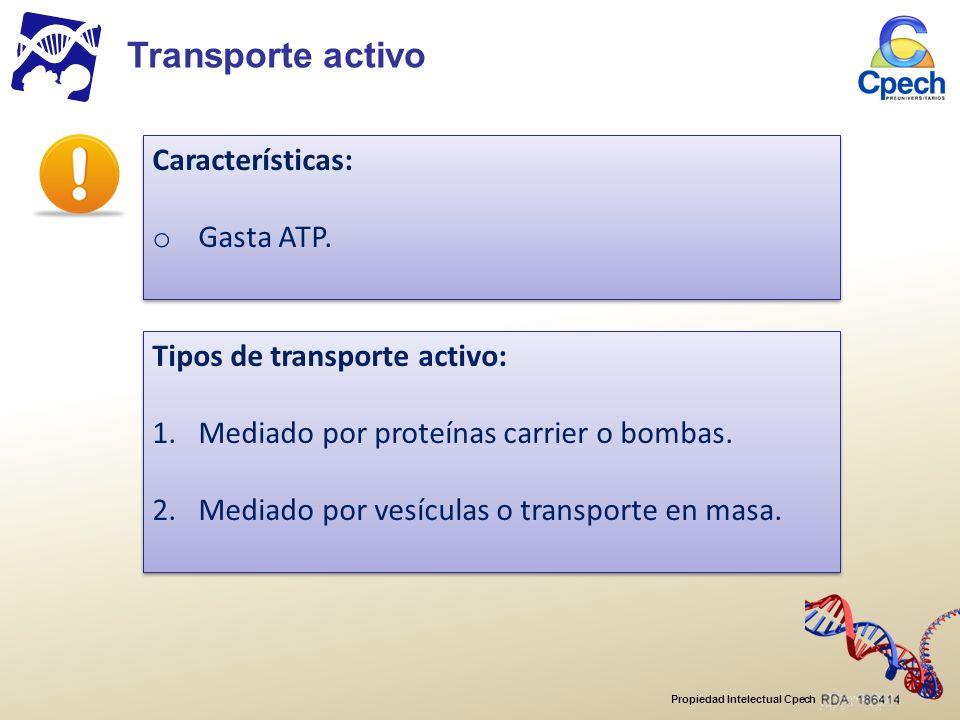 Transporte activo Características: Gasta ATP.