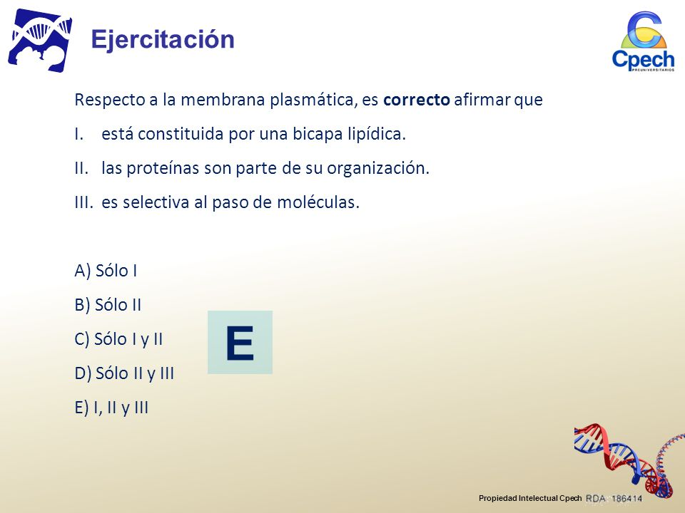Ejercitación Respecto a la membrana plasmática, es correcto afirmar que. I. está constituida por una bicapa lipídica.