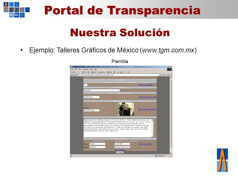 Nuestra Solución Ejemplo: Talleres Gráficos de México (www.tgm.com.mx)