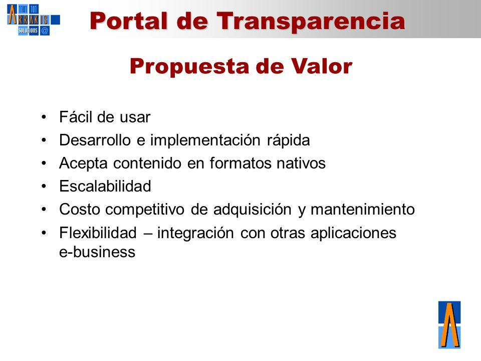 Propuesta de Valor Fácil de usar Desarrollo e implementación rápida