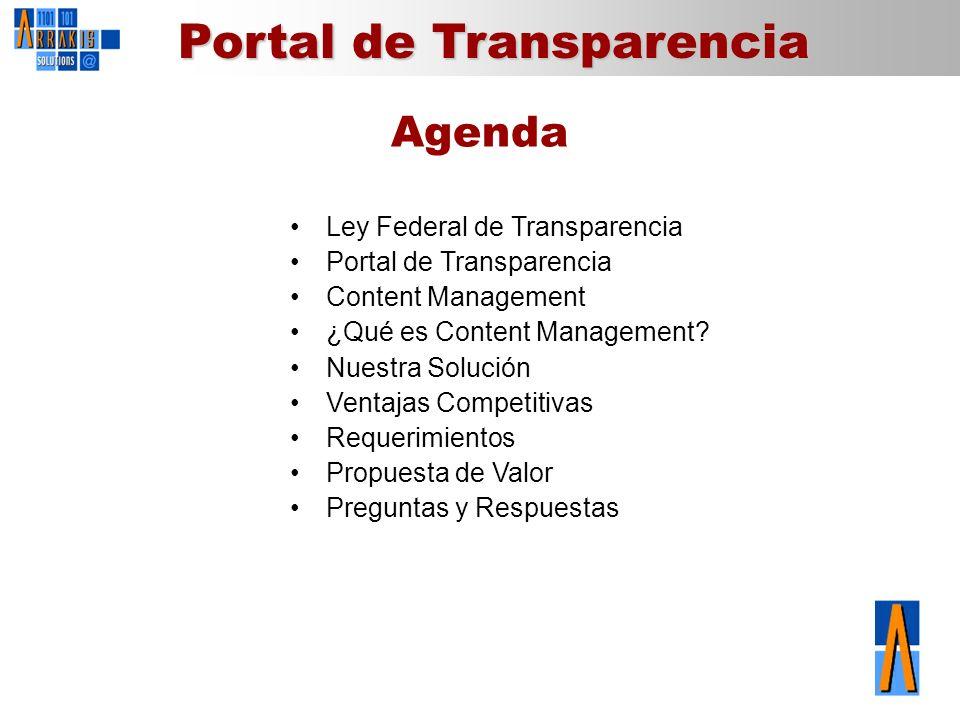 Agenda Ley Federal de Transparencia Portal de Transparencia