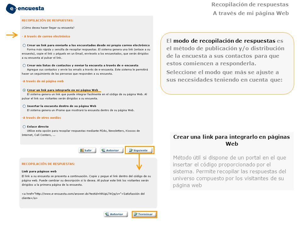 Recopilación de respuestas A través de mi página Web